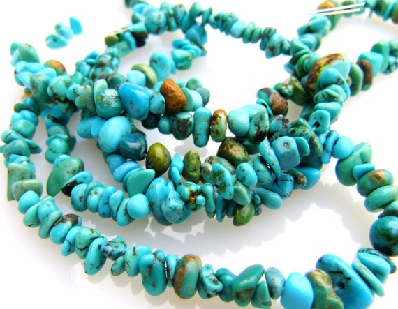 1/2 Strand Genuine Natural Turquoise Chunky Nuggets 3mm-12mm