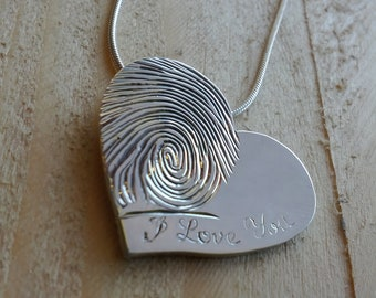 Heart Shaped Fingerprint Pendant