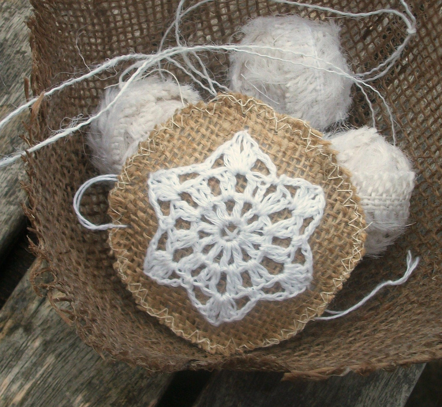 Burlap Tree Ornaments: Christmas Tree Ornament Burlap With Snowflake By HomeDecorLab