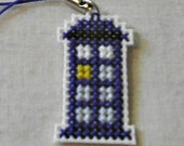 Doctor Who Tardis Cross Stitched Cell Phone Purse Police Box Charm