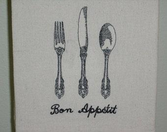 "Flour towel gal ""Bon Appetit"" machine embroidered."