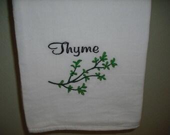Thyme Herb Kitchen Flour Sack Towel. Machine embroiderd.