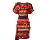 Vintage 1980s silk tribal print dress M