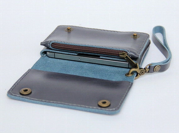 Leather iPhone wallet case with mini zipper in Gray blue (For iPhone4/4s)