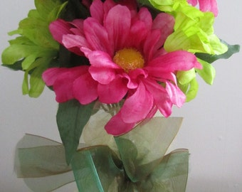 Hour-Glass Bottle Filled with Pink and Green Zinnias w/Bow