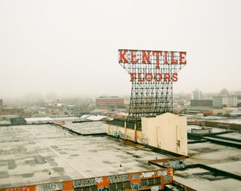 Vintage Sign photo, Brooklyn Photo, Kentile Floors - Rooftops of Brooklyn - 8x10 fine art photograph