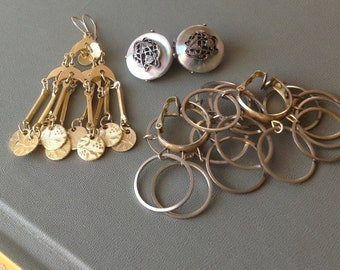 1970s Gold and Silver Earring Lot