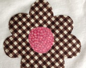 Applique Flower Baby Girl Onesie Chocolate Brown Polka Dots and Pink
