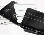 Set of 4 Black and White Fused Glass Coasters