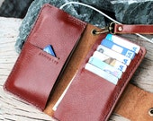 iPhone4/ Full option branch brown leather iphone wallet with wristlet strap and mini hole for headphone