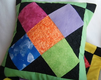 ON SALE X Marks The Block Quilted Pillow Cover - OOAK - 100% Handmade