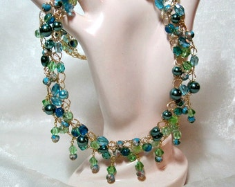 Wire Crochet Necklace Set in Lime Green and Aqua Blue, handmade crocheted wire bead jewelry, aqua and lime beadwork necklace