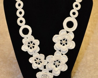 Crochet Necklace with Flowers- Knitted Jewelry- White with Beads