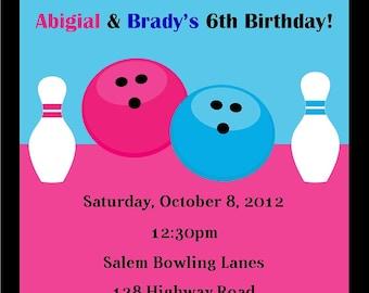 Bowling Birthday Invitation - (Digital File) / Bowling Invitation / Siblings Bowling Party / Bowling Invitation for two / Twin Bowling