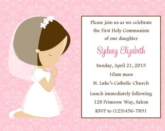 First Communion Invitation - Girl  (Digital File)