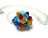 Autism Awareness Hand Woven Swarovski Crystal Ball Necklace.