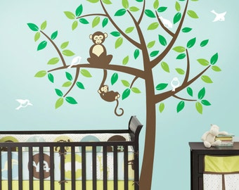 Monkey Tree Decal - Mommy and Baby Monkey - Nursery Vinyl Wall Tree Decal