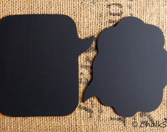 Chalkboard Speech Bubble  -- Set of 2 Sturdy Wooden Rectangular and Cloud Shaped Chalk boards, Photo Booth Props for Wedding