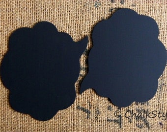 Set of 2 Large Chalkboard Speech Bubbles Sturdy Wood Cloud Shaped CHALKBOARDS, Photo Props for Wedding