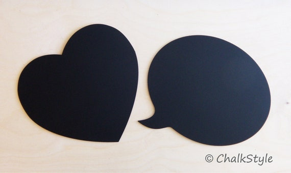 2 CHALKBOARD Large Speech Bubble and Heart Rustic Wedding Decor or Photo Booth Prop, Engagement Pictures Props  Chalk Board Signs