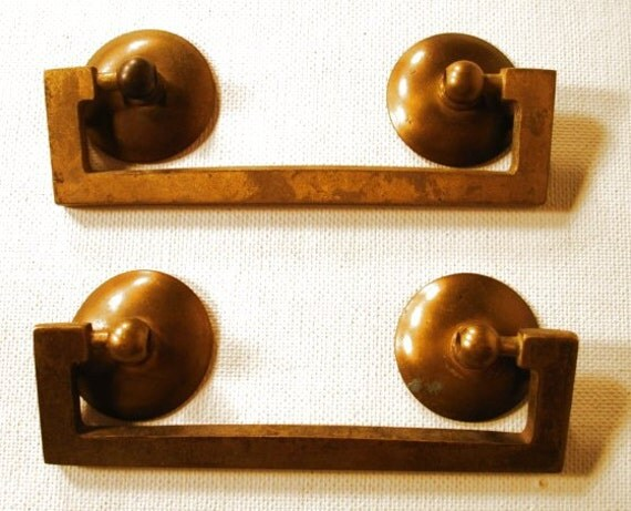 2 Vintage antique Pull Handles with Backplates Brass Mid Century