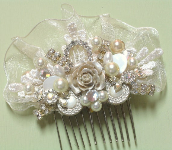 Romantic Bridal Hair Comb- Champagne Rose Hairpiece- Champagne Bridal Hair Comb-Rhinestone & Pearl Wedding Hair Piece- Hair Accessories