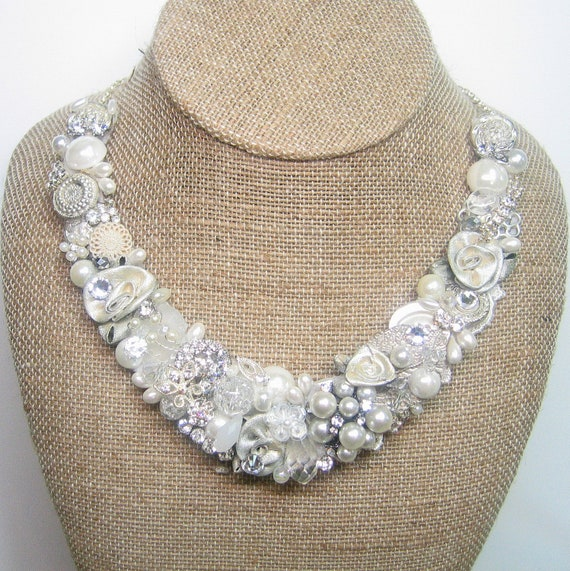 Pearl & Rhinestone Bridal Bib Necklace- Bridal Statement Necklace- Ivory Wedding Jewelry with Silver- Collar