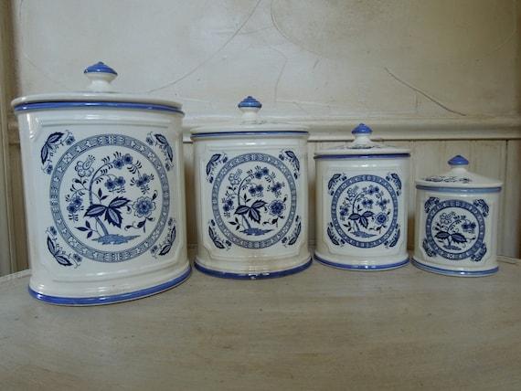 Vintage Porcelain Canister Set Made In Japan Blue and White