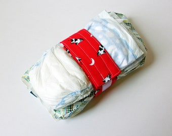 Vintage Cow Print Diaper Strap - Red Cow Jumped Over the Moon Vintage Fabric