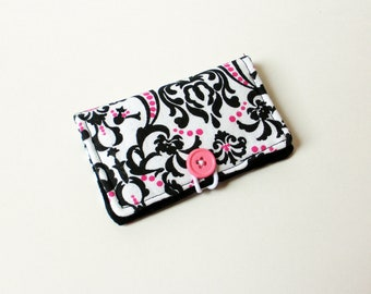 Black and White Damask Fabric Business Card Holder, with Black Scroll - Credit Card Holder, Cloth Card Holder, Gift Card Holder