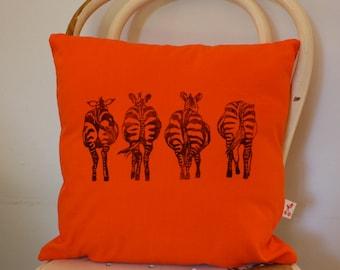 Zebra bottoms Hand block printed decorative scatter cushion cover in Orange
