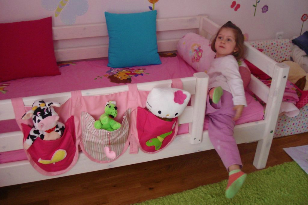 Pink Bed Pockets with patterns / bed storage / by CreativePlayShop