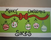 Hand-painted and personalized Christmas canvas for your family