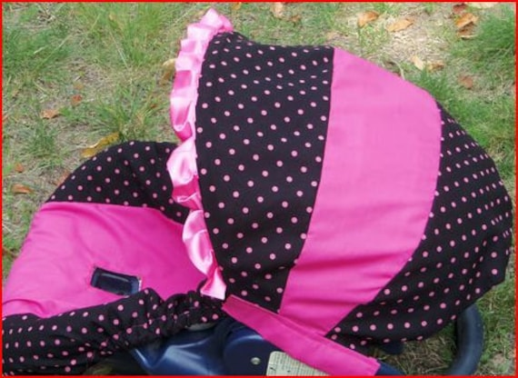 polka dot black pink baby car seat cover infant by pinkbanditbaby2. Black Bedroom Furniture Sets. Home Design Ideas
