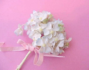 Charming Little Vintage 1950's Millinery Bouquet of Posies in White Tipped with Powder Blue