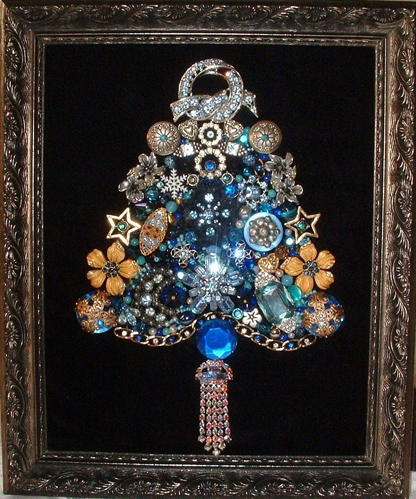 Vintage Jewelry Blue Christmas Framed Jeweled Christmas Tree