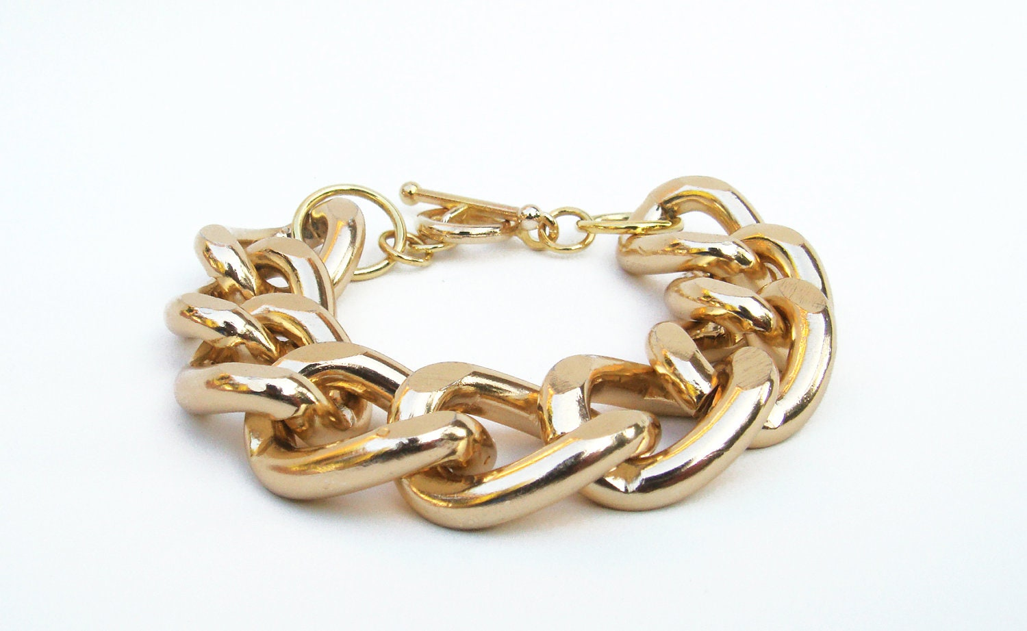 original thick gold chain link bracelet with by maplesupplyco