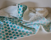 SALE, Baby Blanket, Aqua Ombre Dot Baby Blanket, Aqua Polka Dot with White Minky, LAST ONE