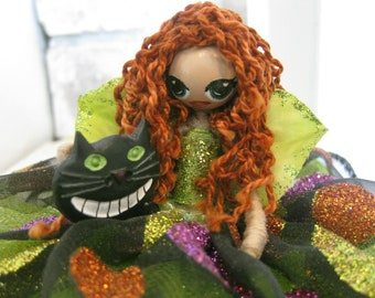 Alice in Wonderland inspired Fairy through the looking glass Cheshire Cat Mad hatter theme doll