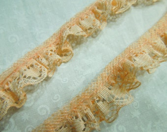 Peach lace ,1 yard of 3/4 inch Peach Ruffled Chantilly lace trim for bridal, baby, lingerie, easter, crafts by MarlenesAttic - Item VD
