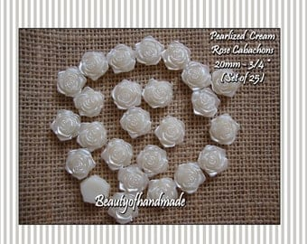 Pearlized Cabachons 20mm Cream Ivory Rose Pearl Flower Centers - Set of 25