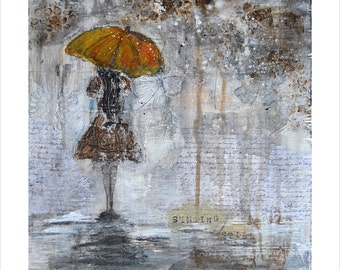 Art Print of Original Acrylic Mixed Media Painting - RAIN GIRL - Brown, Gray, Black, White