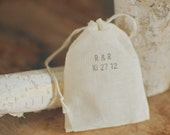 50 Wedding Small Muslin Bag for Favors Hand-Stamped with Custom Initials and Date