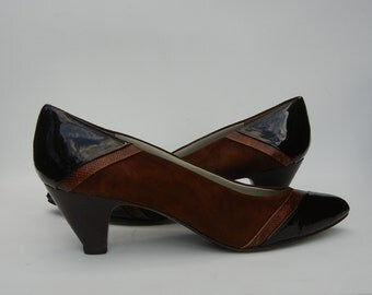 Sesto Meucci Womens Shoes Heels Suede Patent Leather Italian Designer Pumps 7 1/2 M