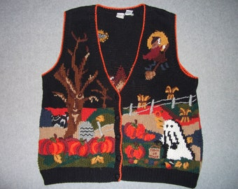 Thanksgiving Day Halloween Haunted House Sweater Vest Nightmare All Hallows Eve Tacky Gaudy Ugly Christmas Party X-Mas XL Extra Large