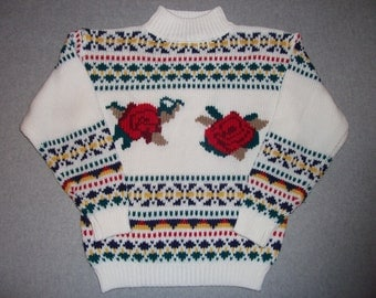 Amazing Cute Nordic Roses Rose Red Ski Sweater Skiing Tacky Gaudy Ugly Christmas Sweater Party X-Mas Winter Warm M Medium