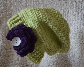 Crocheted Lime Green Slouchy Hat Purple Flower Girls Size 12-24 Months READY TO SHIP