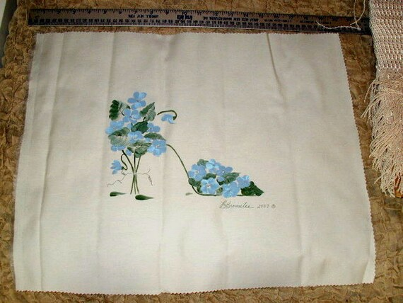 Hydrangea Flower Shoe - Handpainted and Signed on Fabric - For Pillow approx. 15 x 20. You Sew.