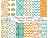 Turquoise Orange Scrapbook Paper- Chevron & Quatrefoil Backgrounds for Scrapbooking, Card Making, Crafts, Instant Download