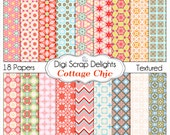 Cottage Chic Digital Scrapbook Paper, Instand Download, Crafts, Cards, Backgrounds, Commercial Use in Shabby Chic Pink, Orange, Blue